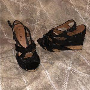 Shoes - 704 b. Wedges Black size US 8